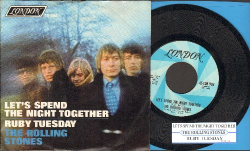 Rolling Stones - Let's Spend The Night Together/Ruby Tuesday (with juke box label and picture sleeve) - NM9/EX8 - 45 rpm Records