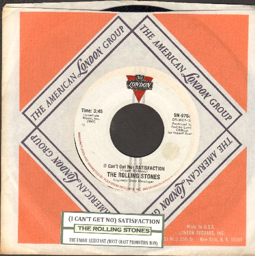 Rolling Stones - I Can't Get No Satisfaction/The Under Assistant West Coast Promotion Man (with vintage London company sleeve and juke box label) - NM9/ - 45 rpm Records