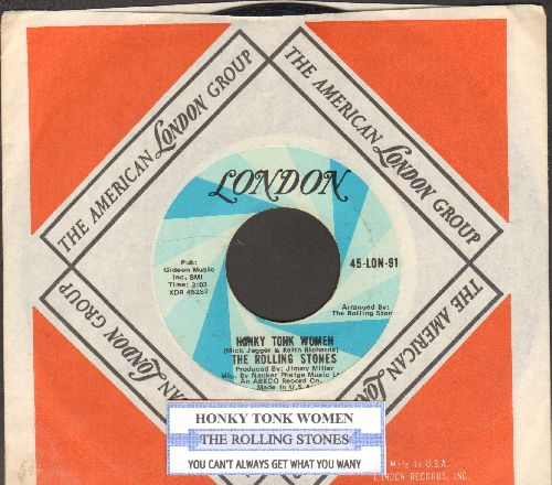 Rolling Stones - Honky Tonk Women/You Can't Always Get What You Want (with juke box label and London company sleeve) - EX8/ - 45 rpm Records