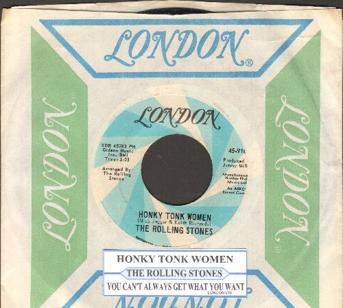 Rolling Stones - Honky Tonk Women/You Can't Always Get What You Want (with vintage London company sleeve and juke box label) - NM9/ - 45 rpm Records
