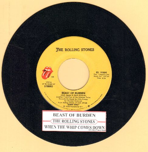 Rolling Stones - Beast Of Burden/When The Whip Comes Down (with juke box label) - EX8/ - 45 rpm Records
