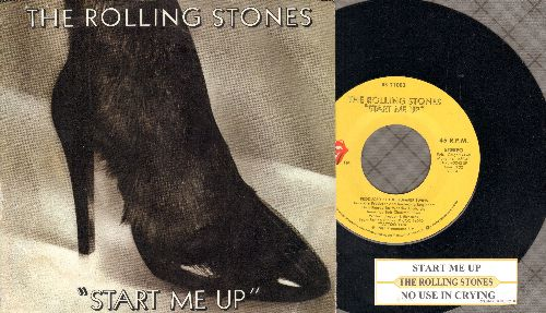 Rolling Stones - Start Me Up/No Use In Crying (with juke box label and picture sleeve) - EX8/EX8 - 45 rpm Records