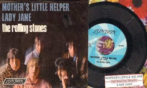 Rolling Stones - Mother's Little Helper/Lady Jane (with juke box label and picture sleeve) - EX8/EX8 - 45 rpm Records