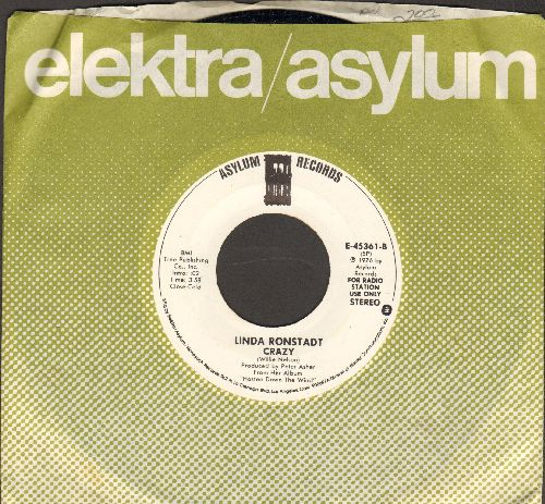 Ronstadt, Linda - Crazy (NICE version of the Patsy Cline favorite, MINT condition double-A-sided DJ advance pressing with Asylum company sleeve) - M10/ - 45 rpm Records