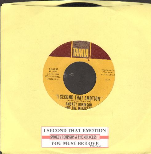 Robinson, Smokey & The Miracles - I Second That Emotion/You Must Be Love (with juke box label) - NM9/ - 45 rpm Records