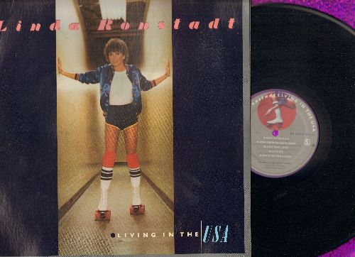Ronstadt, Linda - Living In The USA: Love Me Tender, Ooh Baby Baby, Just One Look (Vinyl STEREO LP record, gate-fold cover, song lyrics on inner sleeve!) - NM9/NM9 - LP Records