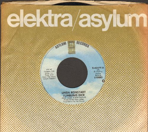 Ronstadt, Linda - Tumbling Dice/I Never Will Marry (with Asylum company sleeve) - M10/ - 45 rpm Records
