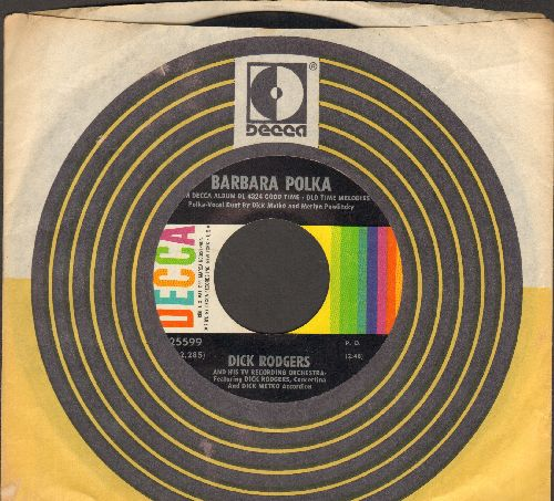 Rodgers, Dick & His TV Recording Orchestra - Barbara Polka/Sunset Schottische (with vintage Decca company sleeve) - NM9/ - 45 rpm Records