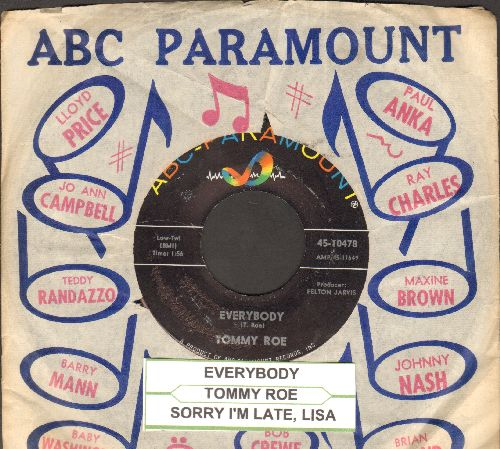 Roe, Tommy - Everybody/Sorry I'm Late, Lisa (ENCHANTING duet with Sandy Posey!)(with juke box label and vintage ABC-Paramount company sleeve) - NM9/ - 45 rpm Records