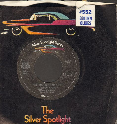 Rogers, Kenny - You Decorated My Life (COUNTRY SLOW-DANCE FAORITE!)/The Gambler (double-hit re-issue with company sleeve) - NM9/ - 45 rpm Records