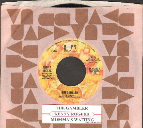 Rogers, Kenny - The Gambler/Momma's Waiting (with juke box label and United Artists company sleeve) - NM9/ - 45 rpm Records