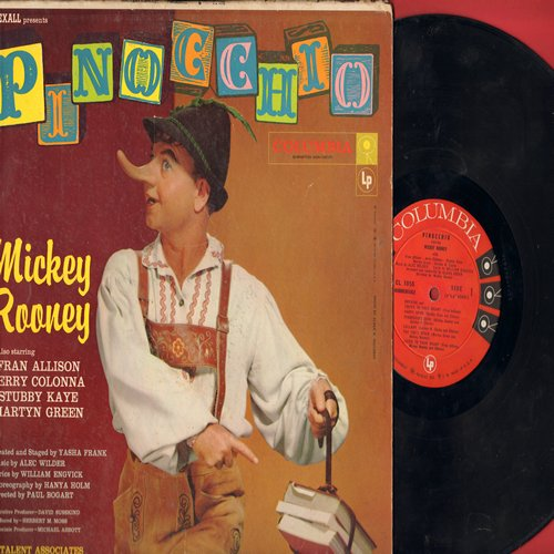 Rooney, Mickey - Pinocchio - Starring Mickey Rooney, Fran Allison, Jerry Colonna, Stubby Kaye and Martyn Green (Vinyl MONO LP record, 1958 first pressing) - VG7/VG7 - LP Records