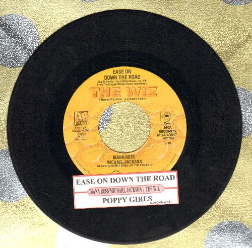 Ross, Diana & Michael Jackson - Ease On Down The Road/Puppy Girls (from film -The Wiz-)(with juke box label) - VG7/ - 45 rpm Records