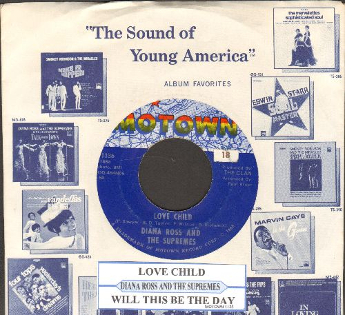 Supremes - Love Child/Will This Be The Day (with juke box label and Motown company sleeve) - NM9/ - 45 rpm Records
