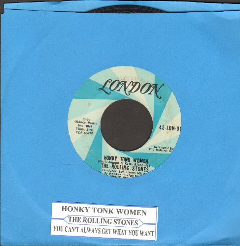 Rolling Stones - Honky Tonk Women/You Can't Always Get What You Want (with juke box label) - EX8/ - 45 rpm Records
