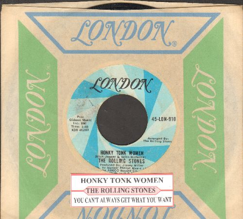 Rolling Stones - Honky Tonk Women/You Can't Always Get What You Want (with vintage London company sleeve and juke box label) - VG7/ - 45 rpm Records