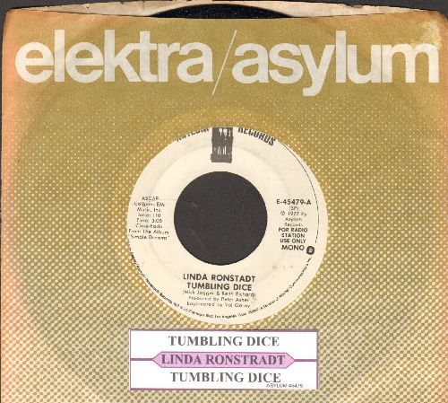 Ronstadt, Linda - Tumbling Dice (double-A-sided DJ advance pressing with juke box label and company sleeve) - NM9/ - 45 rpm Records