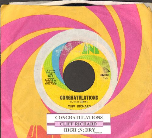 Richard, Cliff - Congratulations/High 'n' Dry (with juke box label and Uni company sleeve) (minor wol) - EX8/ - 45 rpm Records