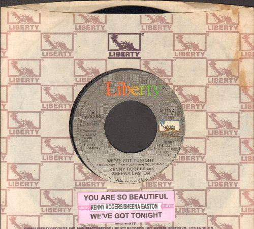 Rogers, Kenny & Sheena Easton - We've Got Tonight/You Are So Beautiful (NICE cover version of Joe Cocker Signature-Song!) (with juke box label and company sleeve) - EX8/ - 45 rpm Records