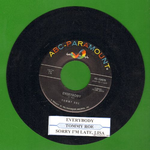 Roe, Tommy - Everybody/Sorry I'm Late, Lisa (ENCHANTING duet with Sandy Posey!)(with juke box label) - NM9/ - 45 rpm Records