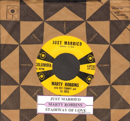 Robbins, Marty - Just Married/Stairway Of Love (withjuke box label and Columbia company sleeve) - EX8/ - 45 rpm Records