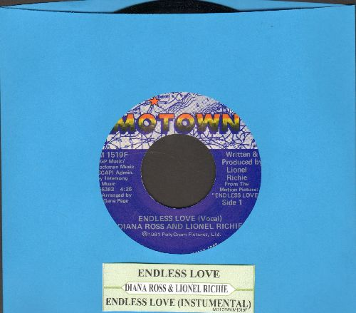 Ross, Diana & Lionel Richie - Endless Love/Endless Love (Instrumental)(with juke box label) - NM9/ - 45 rpm Records