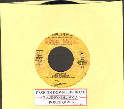 Ross, Diana & Michael Jackson - Ease On Down The Road/Puppy Girls (from film -The Wiz-)(with juke box label) - EX8/ - 45 rpm Records