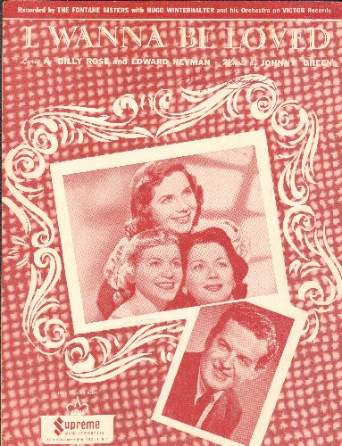 Fontane Sisters - I Wanna Be Loved - Vintage SHEET MUSIC for the Fontane Sisters hit (NICE cover portrait of the Girl-Group) - EX8/ - Sheet Music