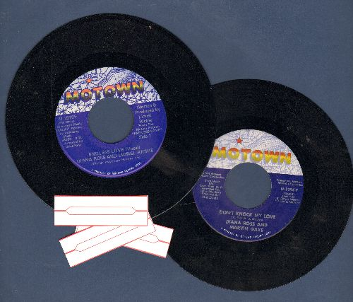 Ross, Diana - Diana Ross Duets 2 for 1: Engless Love (with Lionel Richie) and Don't Knock My Love (with Marvin Gaye), shipped in plain paper sleeves with 3 blank juke box labels. - EX8/ - 45 rpm Records
