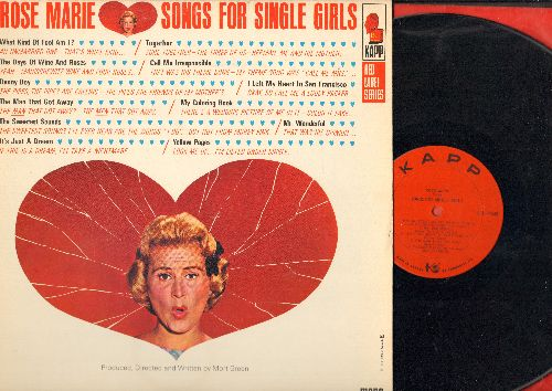 Rose Marie - Songs For Single Girls: Together Wherever We Go, Danny Boy, My Coloring Book, The Man That Got Away (vinyl MONO LP record) - EX8/EX8 - LP Records