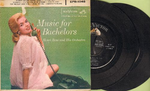 Rene, Henri & His Orchestra, Salome Sisters - Music For Bachelors: Dinner For One Please James/I'm Confessin'/Yearning/I'll See You In My Dreams +4 (2 vinyl EP records in gate-fold cover) - EX8/VG7 - 45 rpm Records