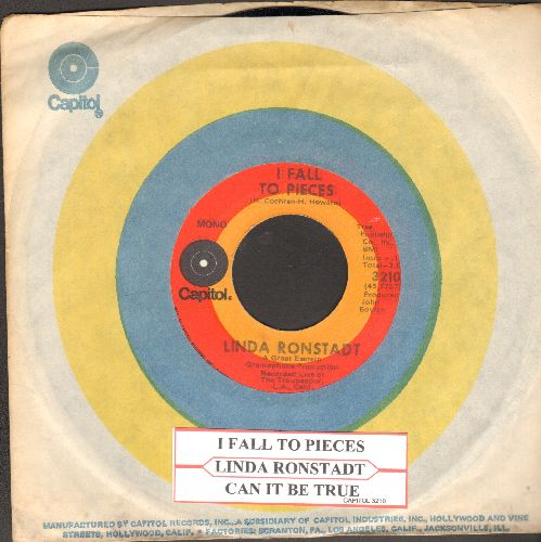 Ronstadt, Linda - I Fall To Pieces/Can It Be True (with juke box label and Capitol company sleeve) - NM9/ - 45 rpm Records