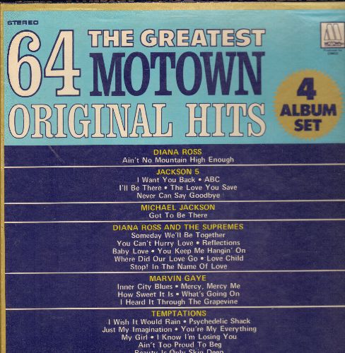 Ross, Diana, Four Tops, Marvin Gaye, Temptations, others - 64 Motown Hits: Please Mr.Postman, My Girl, War, Uptight, I Can't Help Myself, What's Going On (4 vinyl LP box-set) - NM9/EX8 - LP Records