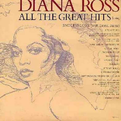 Ross, Diana - All The Great Hits: It's My Turn, Theme From Mohogany, Upside Down, The Boss, Ain't No Mountain High Enough, Supremes Medley, Endless Love (with Lionel Ritchie) - 2 vinyl LP record set, gatefold cover, counts as 2 LPs) - EX8/EX8 - LP Records