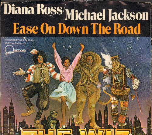 Ross, Diana & Michael Jackson - Ease On Down The Road/Puppy Girls (from film -The Wiz-) (RARE DJ advance pressing with picture sleeve) - M10/EX8 - 45 rpm Records