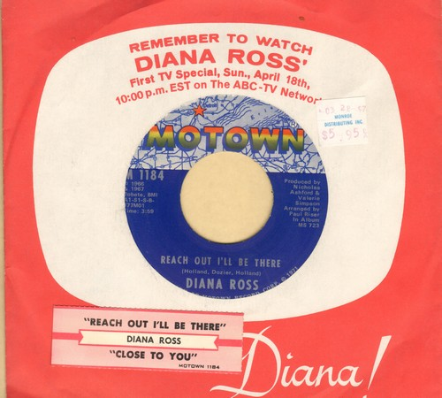 Ross, Diana  - Reach Out I'll Be There/(They Long To Be) Close To You (with Motown company sleeve and juke box label) - EX8/ - 45 rpm Records