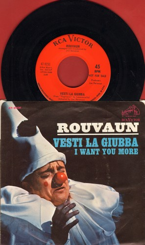 Rouvaun - Vesti La Giubba (FANTASTIC cover of the Caruso Classic)/I Want You More (DJ advance pressing with picture sleeve, US pressing sung in Italian and English) - NM9/NM9 - 45 rpm Records