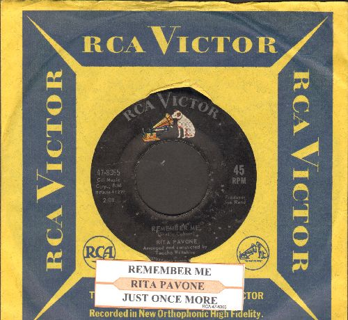 Pavone, Rita - Remember Me/Just Once More (with juke box label and RCA company sleeve)) - VG7/ - 45 rpm Records