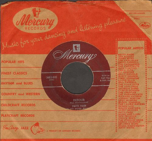 Page, Patti - Detour/Who's Gonna Shoe My Pretty Little Feet (with vintage Mercury company sleeve) - VG7/ - 45 rpm Records