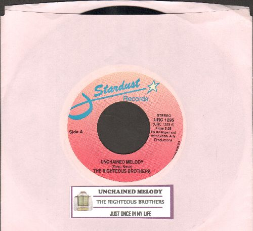 Righteous Brothers - Unchained Melody/Just Once In My Life (double-hit re-issue with juke box label) - NM9/ - 45 rpm Records