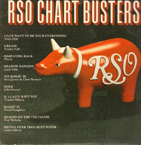 Gibb, Andy, Frankie Valli, Suzi Quatro & Chris Norman, others - RSO Chart Busters: Grease, Stumblin' In, Gold, If I Can't Have You, Makin' It, Shadow Dancing (vinyl STEREO LP record) - NM9/EX8 - LP Records