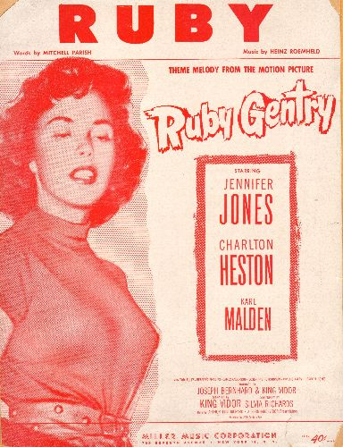 Jones, Jennifer - Ruby - Vintage SHEET MUSIC for the love theme from film -Ruby Gentry- (BEAUTIFUL cover art featuring star Jennifer Jones!) - VG7/ - Sheet Music