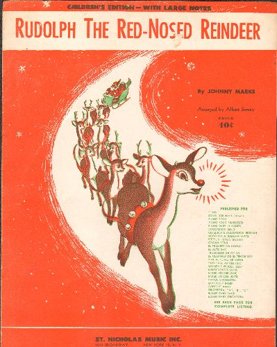Rudolph The Red-Nosed Reindeer - Rudolph The Red-Nosed Reindeer - Vintage SHEET MUSIC for the Christmas Classic, Children's Edition with large notes - EX8/ - Sheet Music