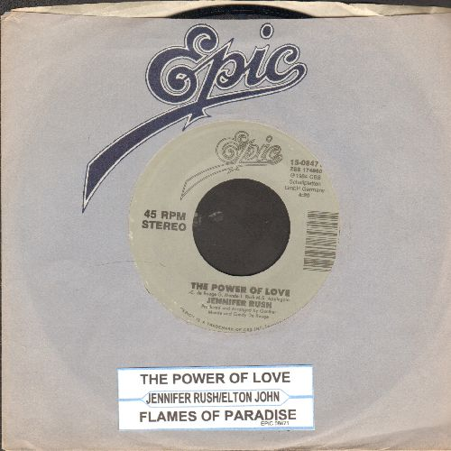 Rush, Jennifer - The Power Of Love/Flames Of Paradise (Duet with Elton John) (re-issue with juke box label and Epic company sleeve) - NM9/ - 45 rpm Records