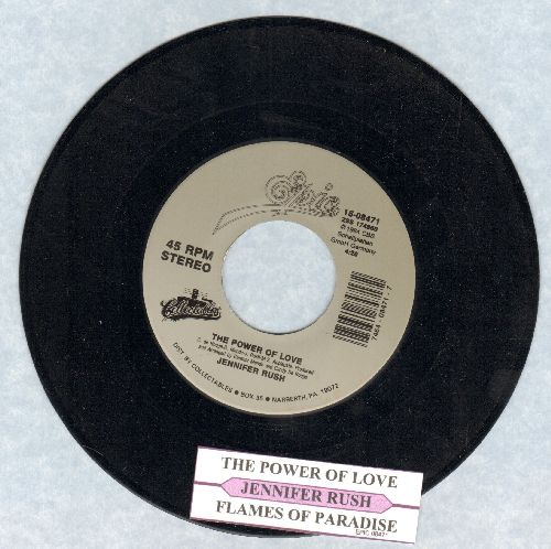Rush, Jennifer - The Power Of Love/Flames Of Paradise (Duet with Elton John) (re-issue with juke box label) - NM9/ - 45 rpm Records