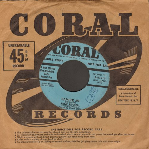 Russell, Jane - Pamper Me/One Arabian Night (DJ advance pressing with vintage Coral company sleeve) - EX8/ - 45 rpm Records