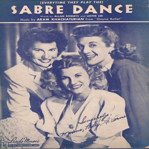 Andrews Sisters - Sabre Dance - Vintage SHEET MUSIC, NICE cover portrait of The Andrews Sisters! - (This is SHEET MUSIC, not any other kind of media!) - EX8/ - Sheet Music