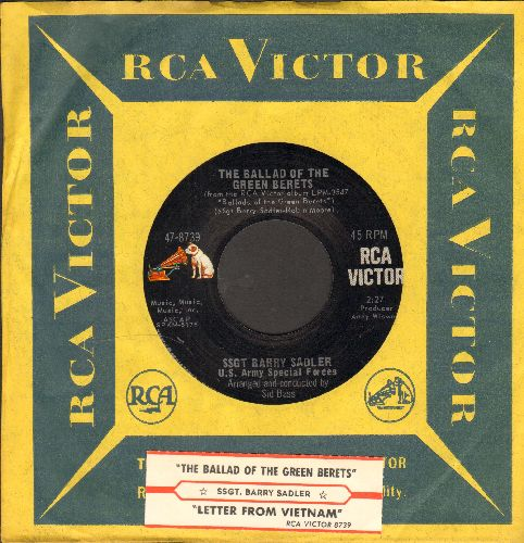 Sadler, Ssgt Barry - The Ballad Of The Green Berets/Letter From Vietnam (withjuke box label and  RCA company sleeve) - NM9/ - 45 rpm Records