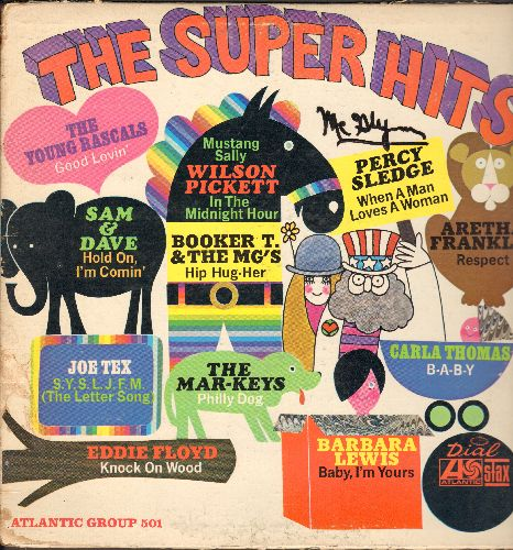 Sam & Dave, Arehta Franklin, Barbara Lewis, Wilson Pickett, Carla Thomas, others - The Super Hits: Respect, Knock On Wood, Baby I'm Yours, Good Lovin', B-A-B-Y (Vinyl LP record) - VG7/VG6 - LP Records