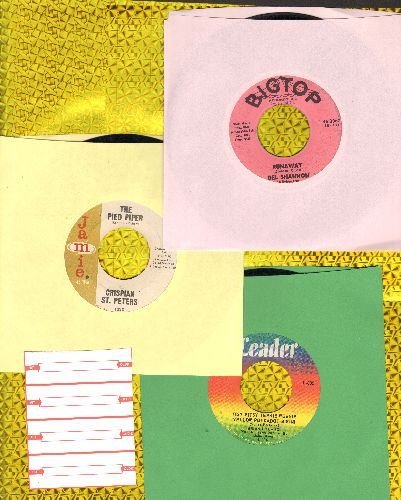 Hyland, Brian, Del Shannon, Chrispian St. Peters - Teen Idol 3-Pack, Runaway, Itsy Bitsy Teenie Weenie Yellow Polkadot Bikini and The Pied Piper. Shipped in plain white paper sleeves with 4 blank juke box labels. GREAT for a juke box! - VG7/ - 45 rpm Reco